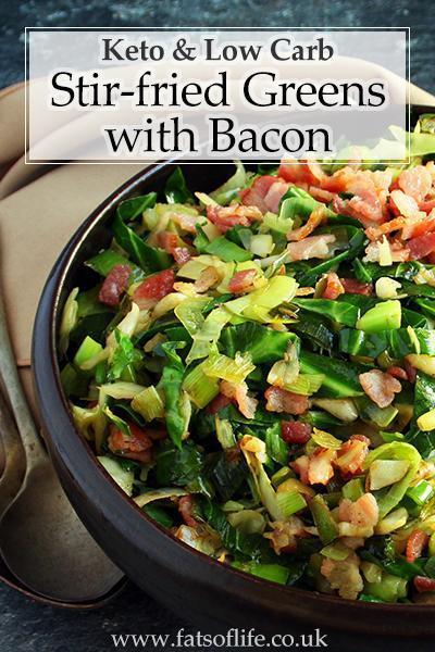 Stir-fried Greens with Bacon (Keto)