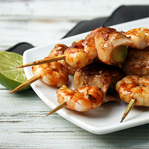 Bacon Prawn Avocado Skewers