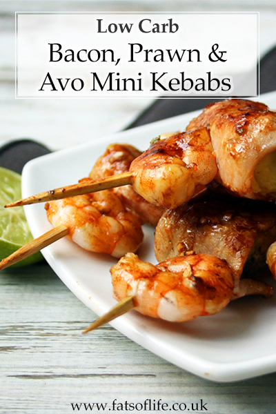 Bacon, Prawn and Avocado Kebabs (Low-carb)