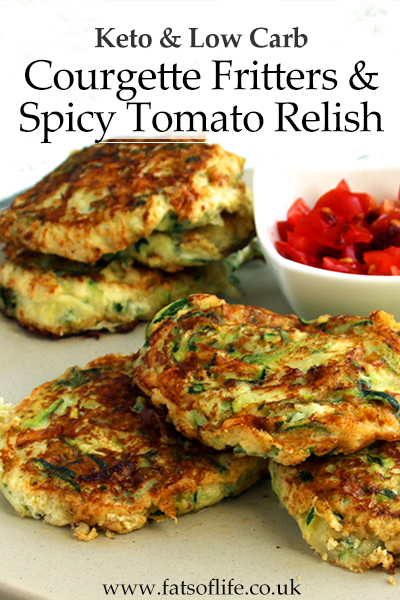 Keto Courgette Cheese Fritters with Spicy Tomato Relish