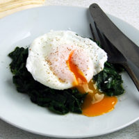 Keto Poached Eggs on Spinach