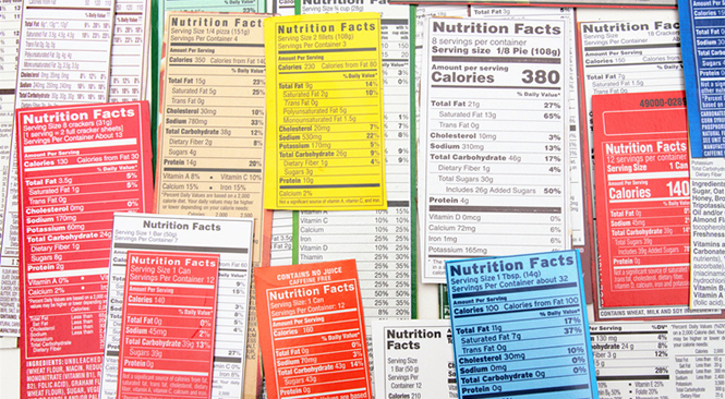 Nutrition label collage of multiple packaging labels. Nutrition facts show quantities of ingredients in products, including calories, fat, protein, carbohydrates