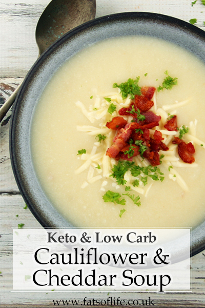 Cauliflower, Bacon & Cheddar Soup (Low-carb)