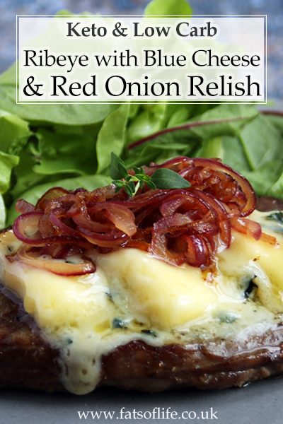 Ribeye with Creamy Blue Cheese & Red Onion Relish (Keto)