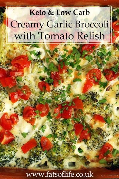Creamy Garlic Broccoli with Tomato Relish (Keto)