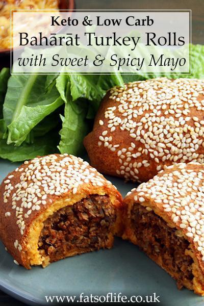 Bahārāt Turkey Sausage Rolls with Sweet & Spicy Mayo (Keto)