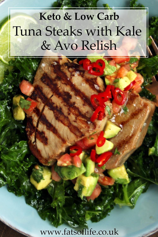 Tuna Steaks with Kale & Avo Tomato Relish